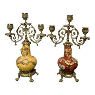 Antique Japanese Awaji Pottery Dragon Vase Ormolu Candelabrum - a Pair For Sale
