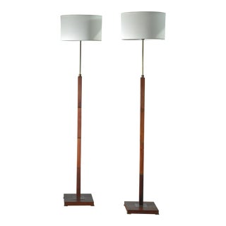 Pair of Danish Height Adjustable Wood and Brass Floor Lamps For Sale