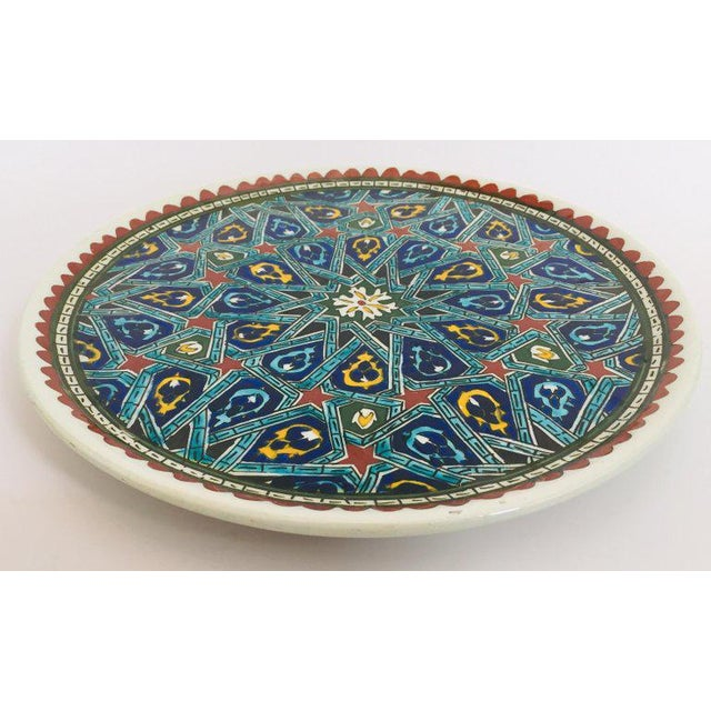 Blue Hand Painted Ceramic Decorative Plate With Islamic Koranic Calligraphy For Sale - Image 8 of 13