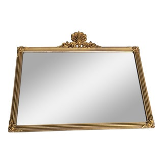 Hollywood Regency Shell Motif Giltwood Framed Mirror For Sale