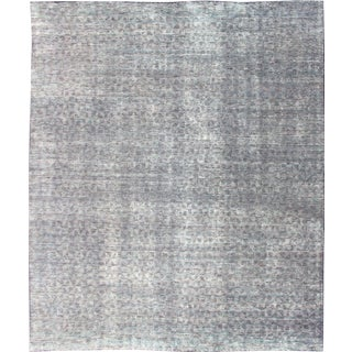 Shades of Cream, Light Green, and Charcoal Modern Indian Rug For Sale