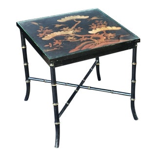 English Japan-Lacquered Bamboo Low Table For Sale