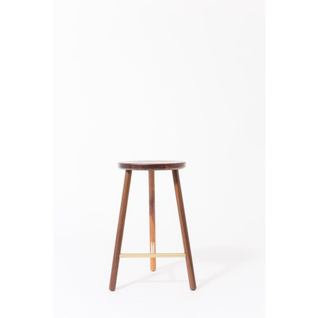 Not Yet Made - Made To Order Steven Bukowski Contemporary Scout Stool in Walnut and Brass For Sale - Image 5 of 5