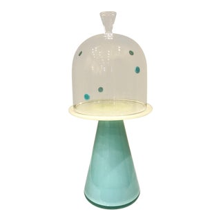 Hand Blown Celadon Glass Cupcake Stand For Sale