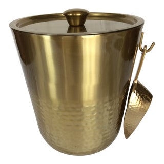 Gold Anodized Double Insulated Ice Bucket and Ice Scoop For Sale