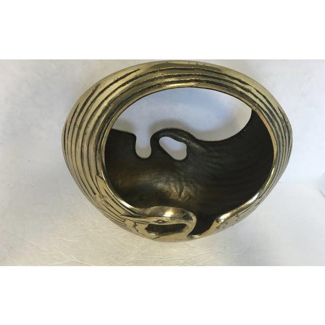 Art Deco Style Brass Swan Basket - Image 5 of 6