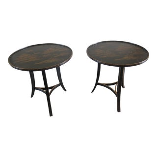 Vintage Chinoiserie Decorated Round Occasional End Tables- A Pair For Sale