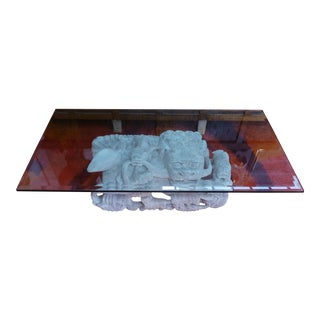 Foo Dog - Imperial Lion Elegant Hand Carved Hardwood Base With Beveled Glass Top Coffee Table For Sale