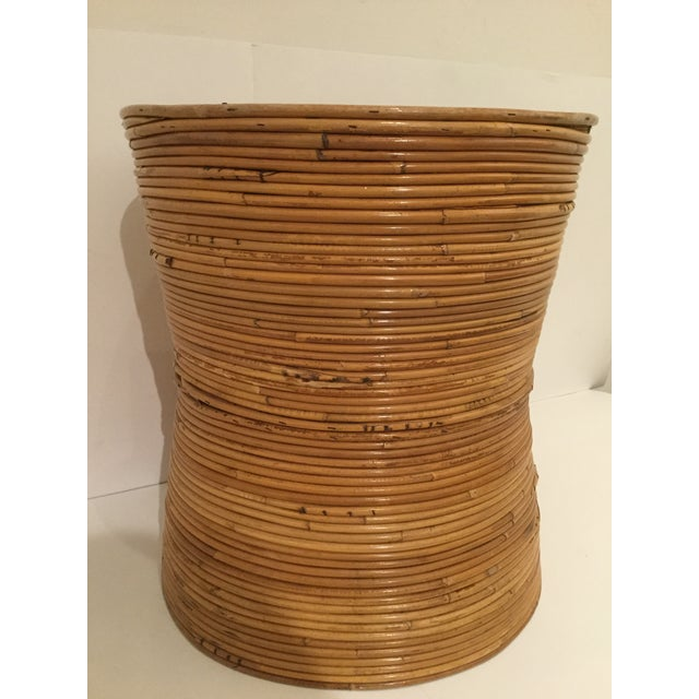 1980s Boho Chic Pencil Reed Side Table For Sale - Image 9 of 10