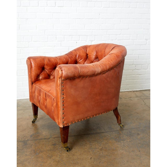 Pair of English Tufted Leather Chesterfield Club Chairs For Sale - Image 9 of 13