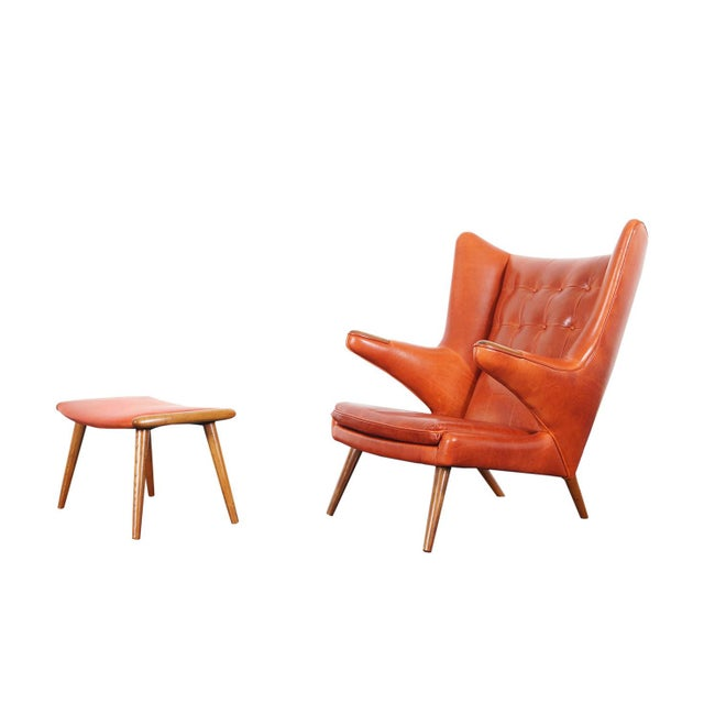 "Ap-19 ""Papa Bear"" Chair and Ottoman in the Manner of Hans J. Wegner - a Pair For Sale - Image 12 of 12"