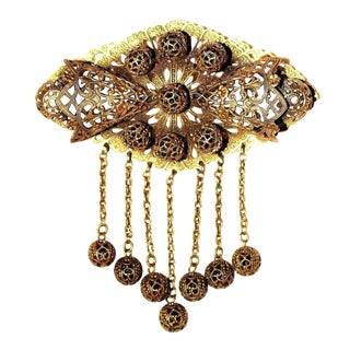 Ornate Brass Filigree Brooch, C. 1930 For Sale
