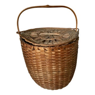 Antique Lidded Basket From New England