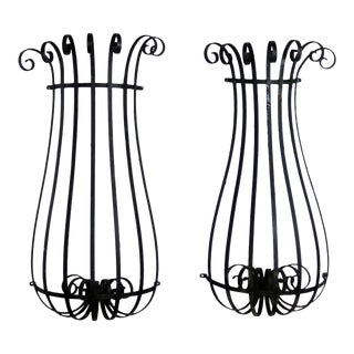 Architectural Antique Window Guards or Wall Urn Planters Hand Wrought Iron For Sale