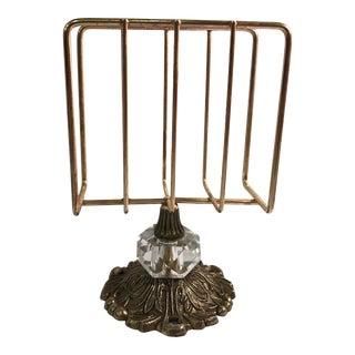 Hollywood Regency Brass and Crystal Napkin / Letter Holder For Sale