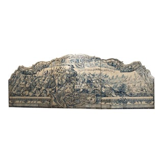 Monumental 3-Piece 18th Century Azulejo Mural Panel From Portugal For Sale