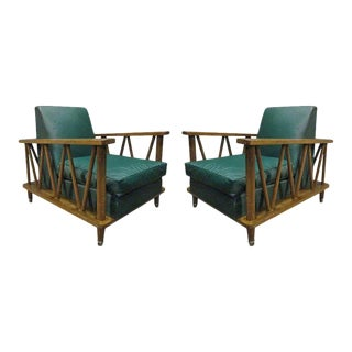 Pair of French Cerused Oak Lounge Chairs For Sale