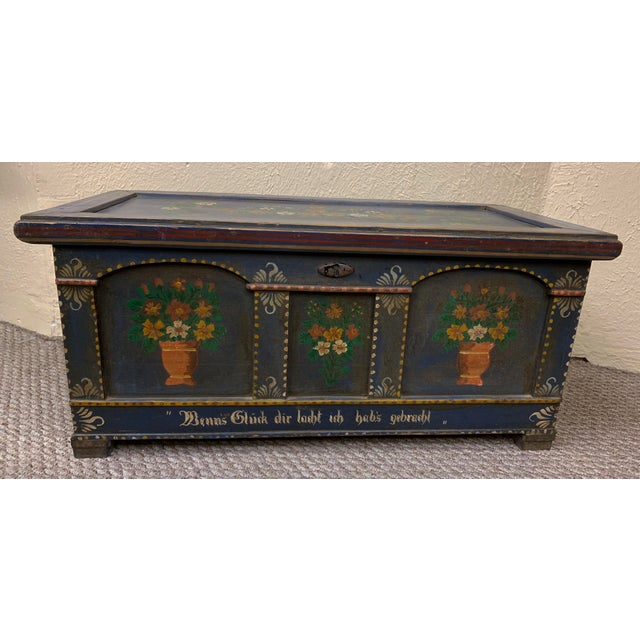 Beautiful cobalt blue painted chest from Germany made in the early 19th c. Lovely floral pattern seen on the front panel...