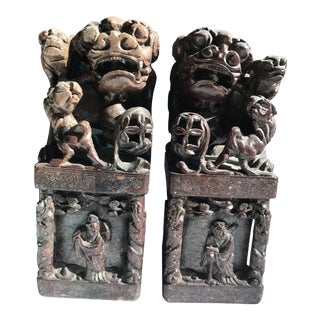 A Pair Antique Chinese Foo Dog Carved Shoushan Stone Seal or Paper Weight For Sale