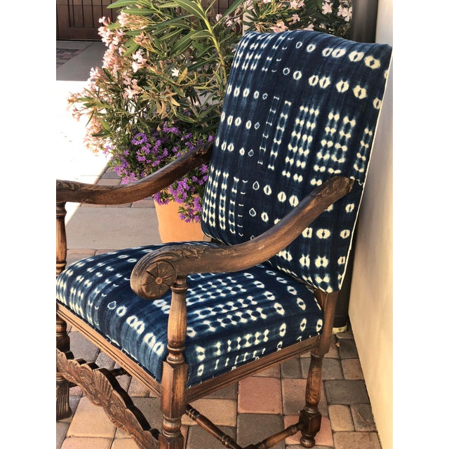 19th Century French Oak Carved Armchair W/ Mali Indigo Textile For Sale - Image 11 of 13
