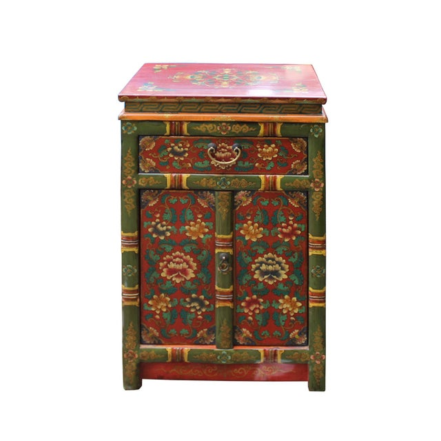 2010s Tibetan Oriental GreenYellow Orange Floral End Table Nightstand For Sale - Image 5 of 8