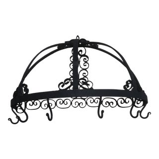 1990s Hand Forged Salterini Style Tea Cup Holder Wall Hanger For Sale