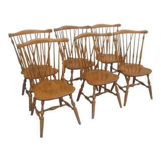 Set of 6 Maple Nutmeg Windsor Ethan Allen Chairs For Sale