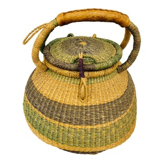 Vintage Dyed Jute African Market Tote Basket For Sale