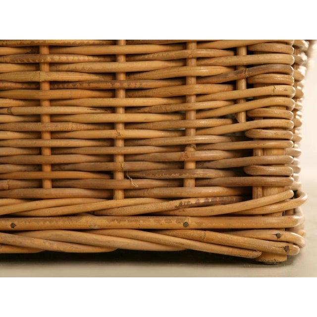 "Vintage Italian Les Toiles Du Soleil Upholstered ""Wicker Works"" Bench - Image 10 of 11"
