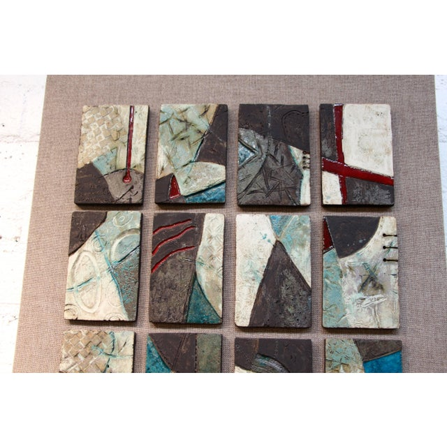20 Unique Tiles Mounted as a Wall Sculpture For Sale - Image 9 of 10