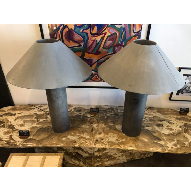 Gray 1940s Industrial Concrete Lamps Made From Factory Rollers - a Pair For Sale - Image 8 of 13
