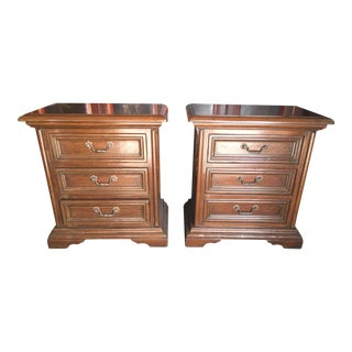 Italian Inlaid Nightstands a Pair For Sale