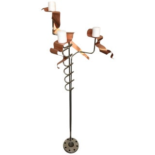Abstract Metal Art Sculpture Chrome Candelabra, Signed For Sale