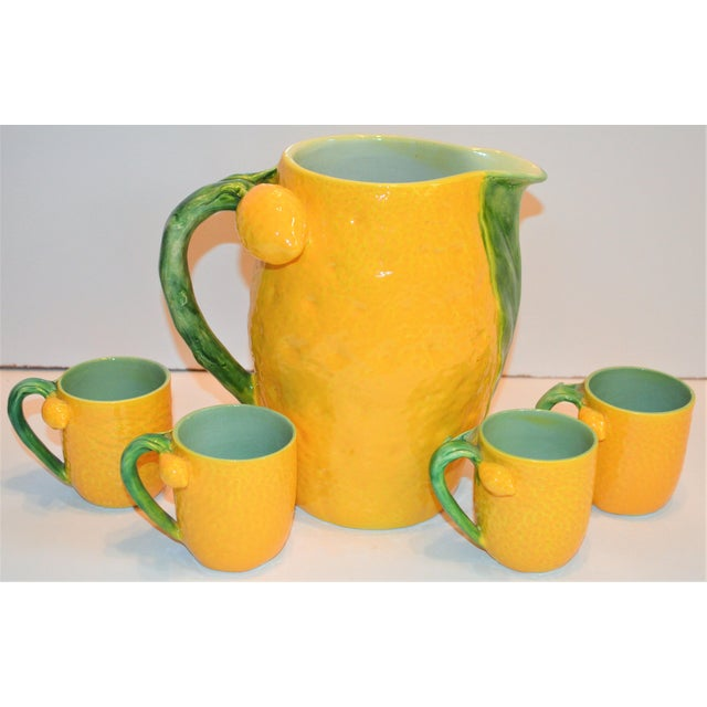 1970s (Final Markdown). Majolica Limoncello Pitcher and Cups- 5 Pieces For Sale - Image 4 of 7