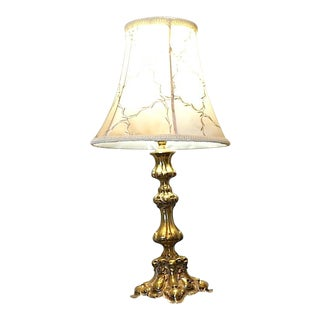 Vintage Rococo Thick Brass Lamp With Ornate Floral Scroll For Sale