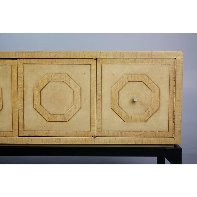 Brass 1970s Harold Schwartz for Romweber Sideboard With Decorative Tile Pulls For Sale - Image 7 of 11