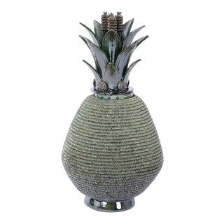 Pottery or Glazed Terracotta Lidded Pineapple Jar or Urn For Sale