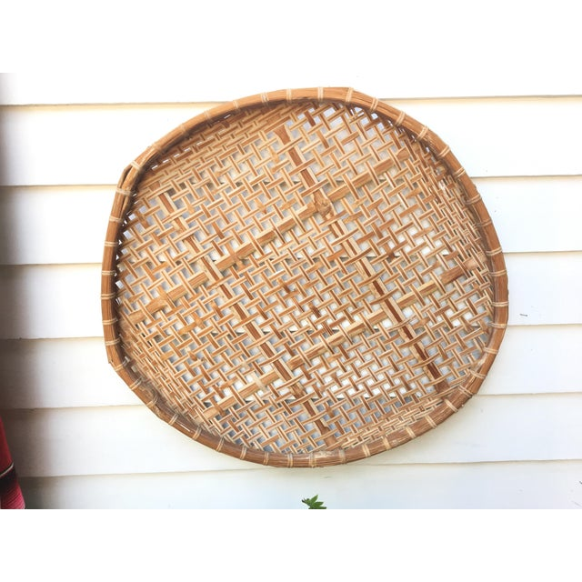 Giant Vintage Bamboo Winnowing Fish Drying Wall Basket - Image 3 of 7