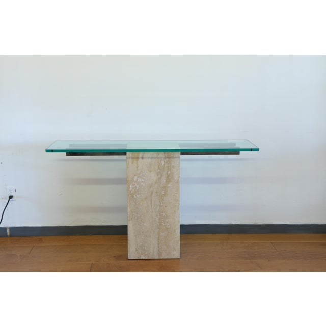Abstract Vintage Travertine Console Table For Sale - Image 3 of 8