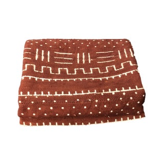 """African Malian Bogolan Textile Mud Cloth Brown & White 41"""" by 66"""" For Sale"""