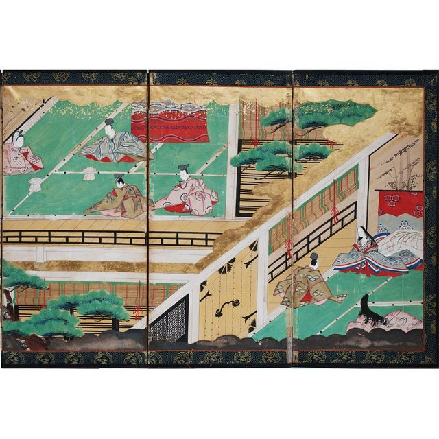 17th Century 17th C. Japanese the Tale of Genji Byobu Screen For Sale - Image 5 of 13