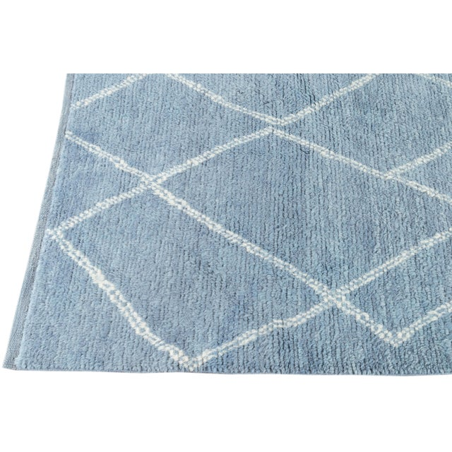 """Blue Moroccan Rug, 9'4"""" X 11'9"""" For Sale In New York - Image 6 of 8"""