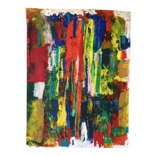 """Abstract Unframed Oil Painting on Paper - 18"""" X 24"""""""