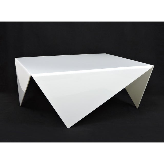 Mid-Century Modern Bertin France Mouchoir Style White Acrylic Coffee Table For Sale - Image 10 of 10