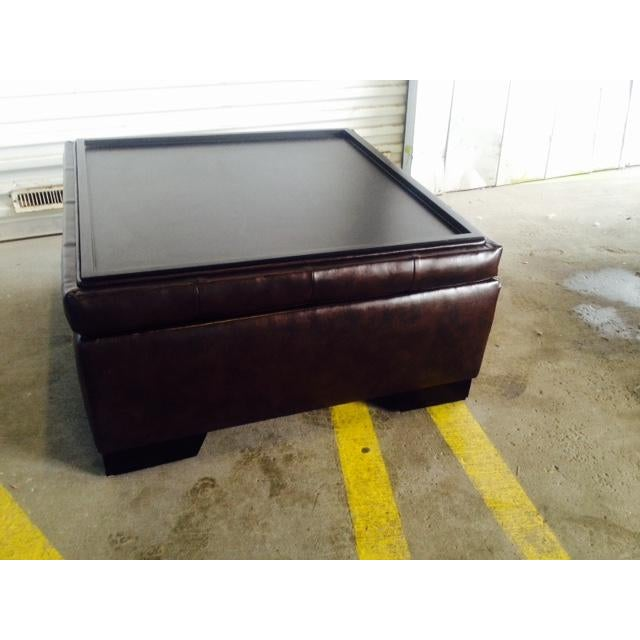 Brown Faux Leather Storage Ottoman For Sale - Image 4 of 6