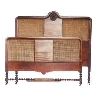 1910s English Traditional Barley Twist Full Size Headboard and Footboard - 2 Pieces For Sale