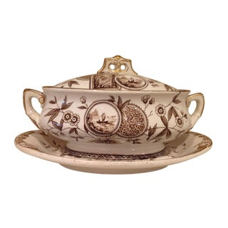 English Aesthetic Movement Oval Casserole With Stand For Sale