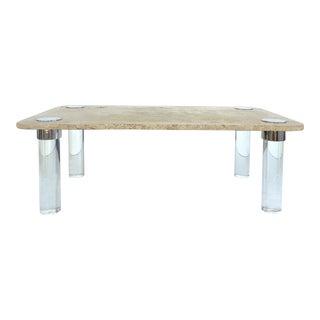 Karl Springer Travertine, Chrome & Lucite Coffee Table For Sale