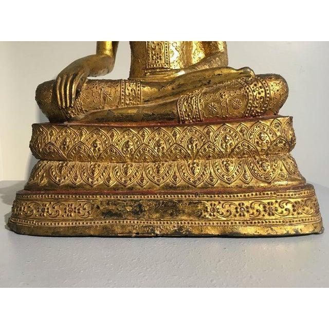 Thai Rattanakosin Lacquered Gilt Bronze Image of Buddha Maravijaya For Sale - Image 10 of 10