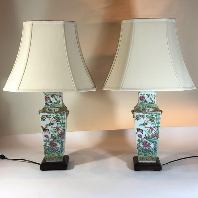 "Pair Antique Rose Medallion ""Canton"" Vases, Made Into Lamps. For Sale - Image 4 of 4"